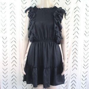 dRA LA Anthropologie Ruffled Dress Black Size M